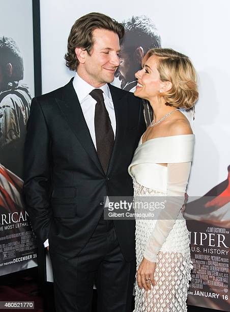 Actors Sienna Miller and Bradley Cooper attend the 'American Sniper' New York Premiere at Frederick P Rose Hall Jazz at Lincoln Center on December 15...