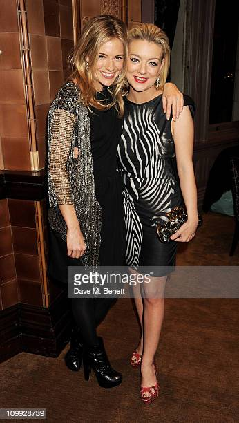 Actors Sienna Miller and Sheridan Smith attend an after party celebrating the Gala Preview of the new west end production of Flare Path on March 10...