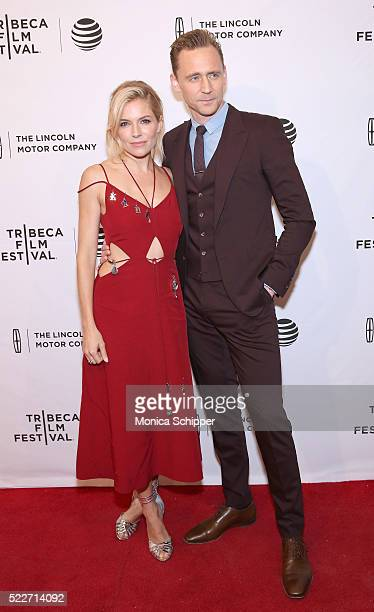 """Actors Sienna Miller and Tom Hiddleston attend """"High-Rise"""" Premiere - 2016 Tribeca Film Festival at SVA Theatre 2 on April 20, 2016 in New York City."""