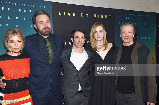 Actors Sienna Miller Ben Affleck Chris Messina Elle Fanning and Chris Cooper attend the Live By Night special screening at Metrograph on December 13...