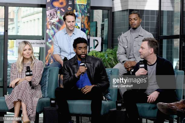 "Actors Sienna MIller Taylor Kitsch Chadwick Boseman Stephan James and director Brian Kirk visit the Build Series to discuss the film ""21 Bridges"" at..."
