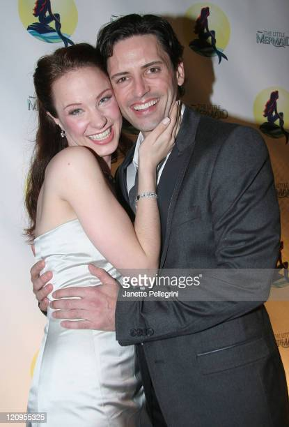 Actors Sierra Boggess and Sean Palmer attend the After Party of The Little Mermaid at Roseland Ballroom on January 10 2008 in New York City