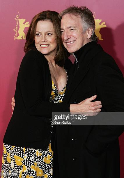 Actors Sigourney Weaver and Alan Rickman attend the photocall for 'Snow Cake' as part of the 56th Berlin International Film Festival on February 9...