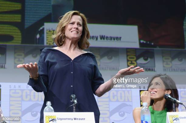 Actors Sigourney Weaver and Elodie Yung speak onstage at Netflix's 'The Defenders' panel during ComicCon International 2017 at San Diego Convention...