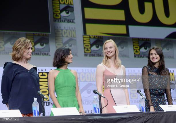 Actors Sigourney Weaver Elodie Yung Deborah Ann Woll and Jessica Henwick speak onstage at Netflix's 'The Defenders' panel during ComicCon...