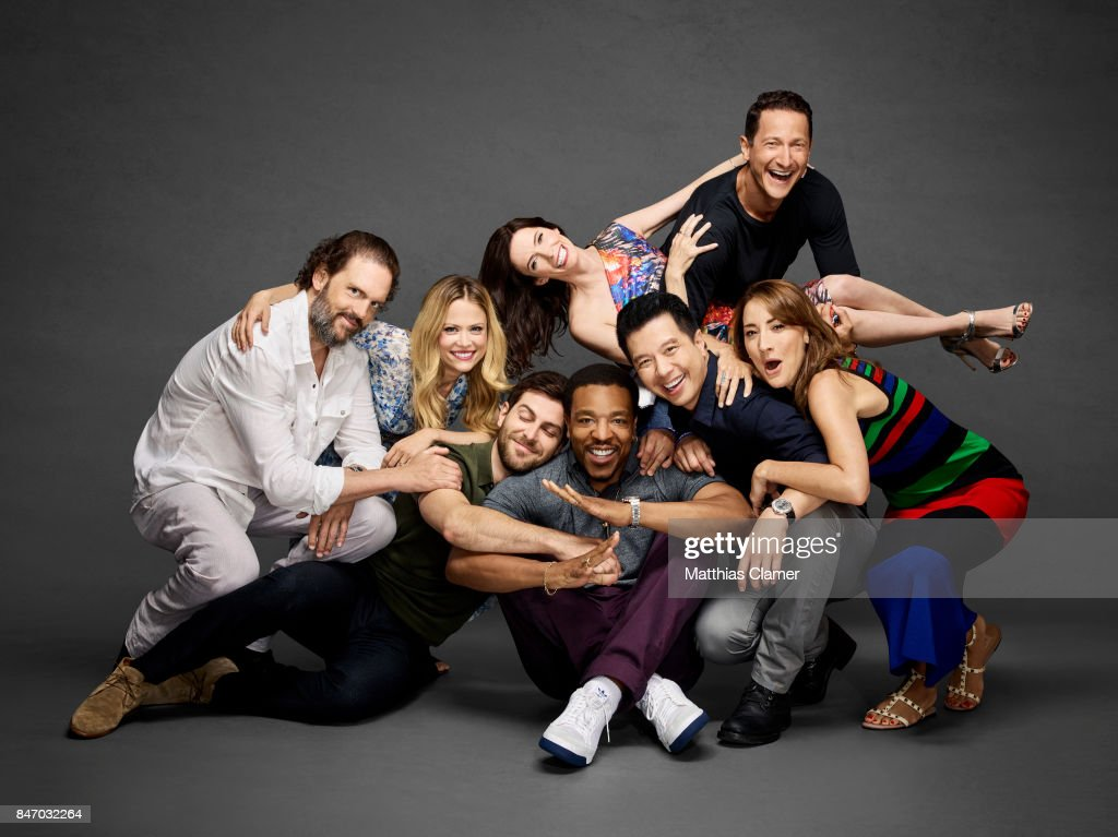 Actors Silas Weir Mitchell, Claire Coffee, David Giuntoli, Bitsie Tulloch, Russell Hornsby, Reggie Lee, Sasha Roiz, and Bree Turner from 'Grimm' are photographed for Entertainment Weekly Magazine on July 23, 2016 at Comic Con in the Hard Rock Hotel in San Diego, California. PUBLISHED