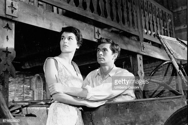 Actors Silvana Mangano and Anthony Perkins during the shooting of 'This Angry Age' at Cinecittà Studios Rome 1957
