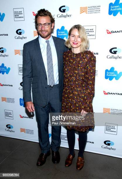 Actors Simon Baker and Naomi Watts attend the 'Breath' premiere during the Australian International Screen Forum at Francesca Beale Theater on March...