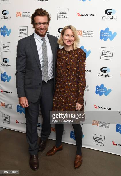 Actors Simon Baker and Naomi Watts attend the 'Breath' premiere for the Australian International Screen Forum at Francesca Beale Theater on March 20...
