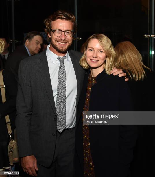 Actors Simon Baker and Naomi Watts pose during the Opening Night of the Australian International Screen Forum at Lincoln Center on March 20 2018 in...