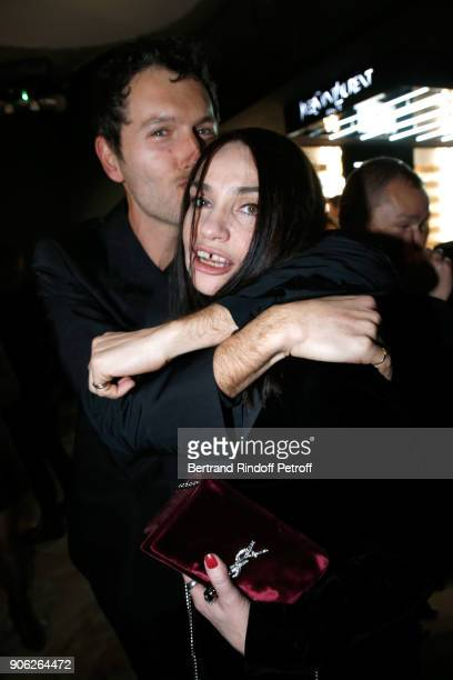 Actors Simon Buret and Beatrice Dalle attend the 'YSL Beauty Hotel' event during Paris Fashion Week Menswear Fall/Winter 20182019 on January 17 2018...