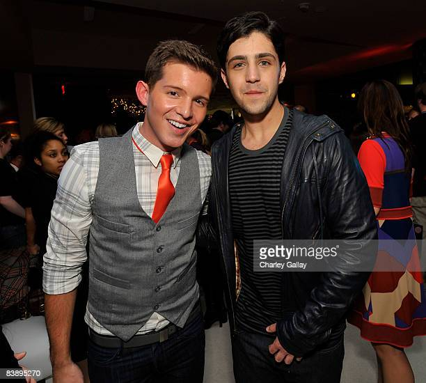 Actors Simon Curtis and Josh Peck attend the after party for Merry Christmas Drake Josh at the Westside Pavillion on December 2 2008 in Westwood...