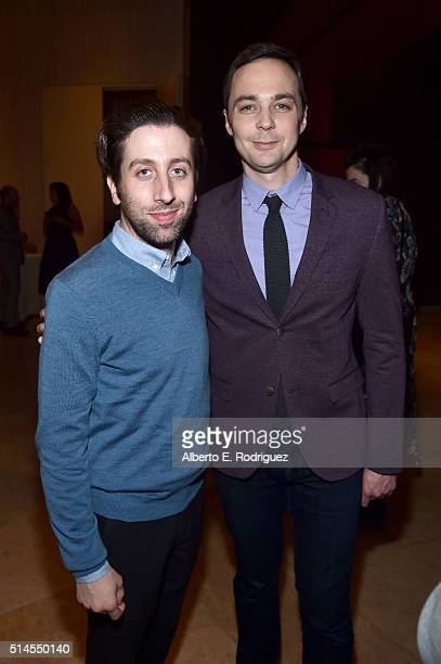 Actors Simon Helberg and Jim Parsons attend the 24th and final A Night at Sardi's to benefit the Alzheimer's Association at The Beverly Hilton Hotel...