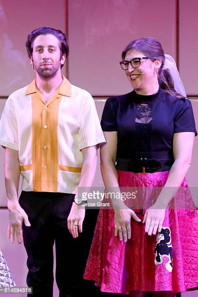 Actors Simon Helberg and Mayim Bialik perform onstage during the 24th and final A Night at Sardi's to benefit the Alzheimer's Association at The...