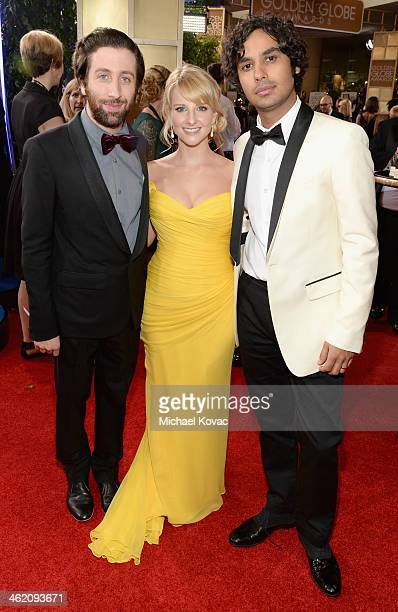 Actors Simon Helberg Melissa Rauch and Kunal Nayyar attend the 71st Annual Golden Globe Awards with Moet Chandon held at the Beverly Hilton Hotel on...
