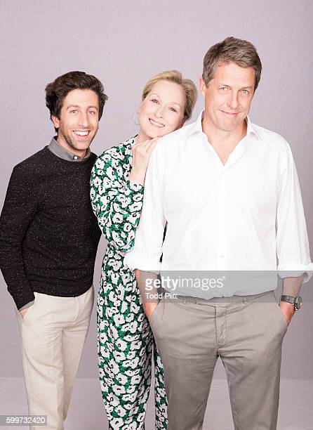 Actors Simon Helberg Meryl Streep and Hugh Grant are photographed for USA Today on July 11 2016 in New York City