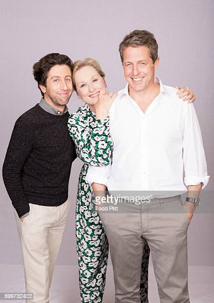 Actors Simon Helberg Meryl Streep and Hugh Grant are photographed for USA Today on July 11 2016 in New York City PUBLISHED IMAGE