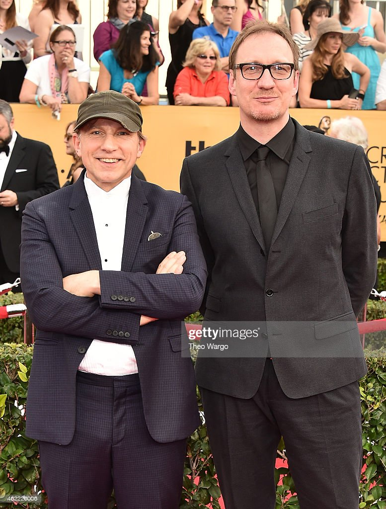 Actors Simon McBurney (L) and David Thewlis attend TNT's 21st Annual Screen Actors Guild Awards at The Shrine Auditorium on January 25, 2015 in Los Angeles, California. 25184_018