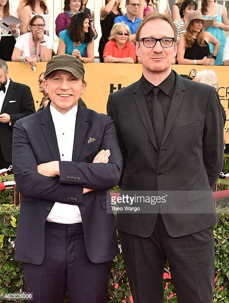 Actors Simon McBurney and David Thewlis attend TNT's 21st Annual Screen Actors Guild Awards at The Shrine Auditorium on January 25 2015 in Los...
