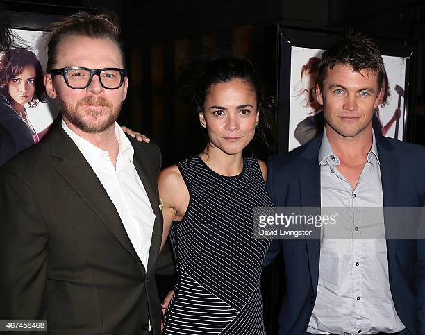 Actors Simon Pegg Alice Braga and Luke Hemsworth attend the premiere of Magnolia Pictures' 'Kill Me Three Times' at ArcLight Hollywood on March 24...