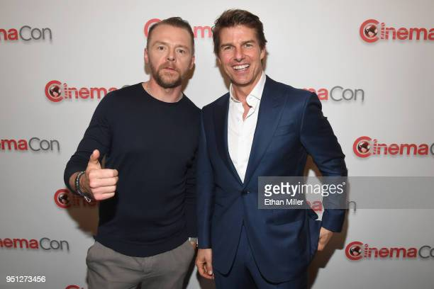 Actors Simon Pegg and Tom Cruise attend the CinemaCon 2018 Paramount Pictures Presentation Highlighting Its Summer of 2018 and Beyond at The...