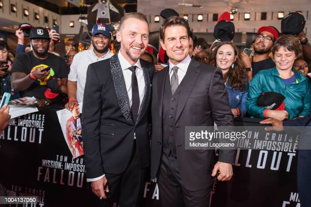 Actors Simon Pegg and Tom Cruise attend the 'Mission Impossible Fallout' US Premiere at Lockheed Martin IMAX Theater at the Smithsonian National Air...