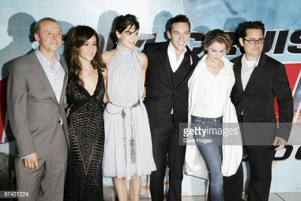 Actors Simon Pegg Maggie Q Michelle Monaghan Jonathan Rhys Meyers and Keri Russell and director JJ Abrams arrive at the UK Premiere of 'Mission...