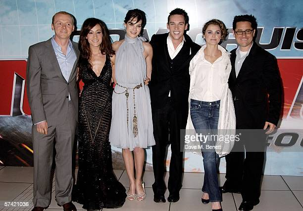 Actors Simon Pegg Maggie Q Michelle Monaghan Jonathan Rhys Meyers Keri Russell and director JJ Abrams arrive at the UK Premiere of 'Mission...