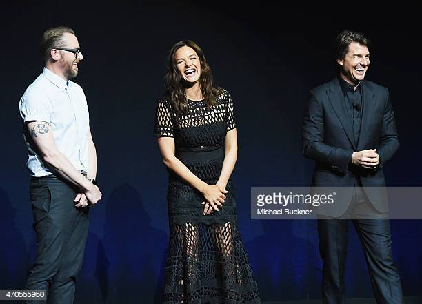 Actors Simon Pegg Rebecca Ferguson and Tom Cruise speak onstage during The State of the Industry Past Present and Future and Paramount Pictures...