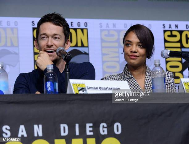 Actors Simon Quarterman and Tessa Thompson attend the Westworld panel and QA Session during ComicCon International 2017 at San Diego Convention...