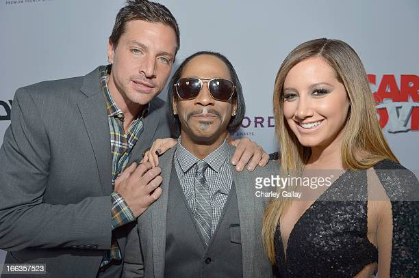 Actors Simon Rex Katt Williams and Ashley Tisdale arrive at the premiere of 'Scary Movie V' presented by Dimension Films in partnership with Lexus...