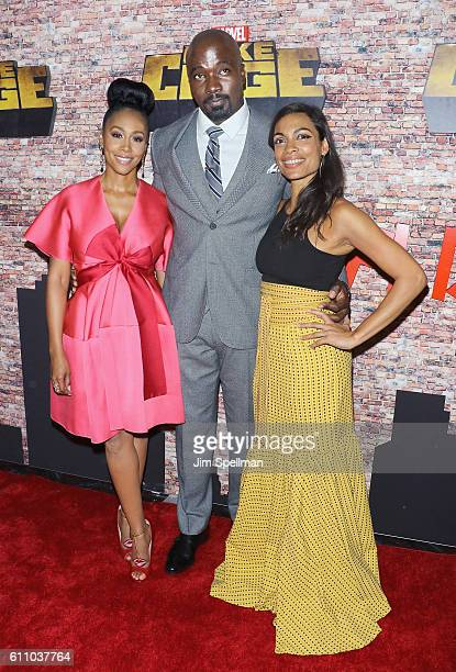 Actors Simone Missick Mike Colter and Rosario Dawson attend the Luke Cage New York premiere at AMC Magic Johnson Harlem on September 28 2016 in New...