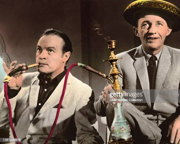 Actors, singers and comedians Bing Crosby as Harry Turner and Bob Hope as Chester Babcock in the comedy film 'The Road to Hong Kong', 1962.