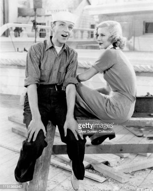 Actors singers and dancers Fred Astaire as Bake Baker and Ginger Rogers as Sherry Martin in the musical comedy 'Follow the Fleet' 1936
