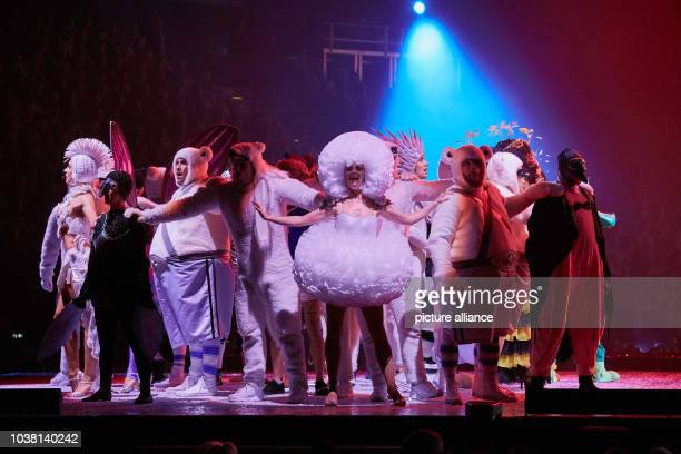 Actors singers and dancers perform during the premiere of Peter Maffay's rock fairytale Tabaluga Es lebe die Freundschaft in Hamburg Germany 7...