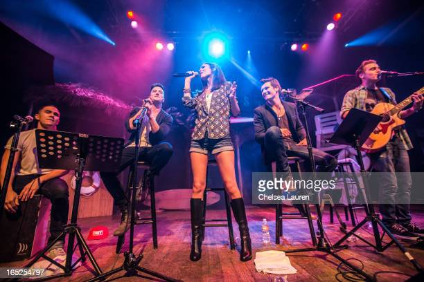 Actors / singers Carlos Pena Jr Logan Henderson Victoria Justice James Maslow and Kendall Schmidt perform at the Big Time Rush press conference and...