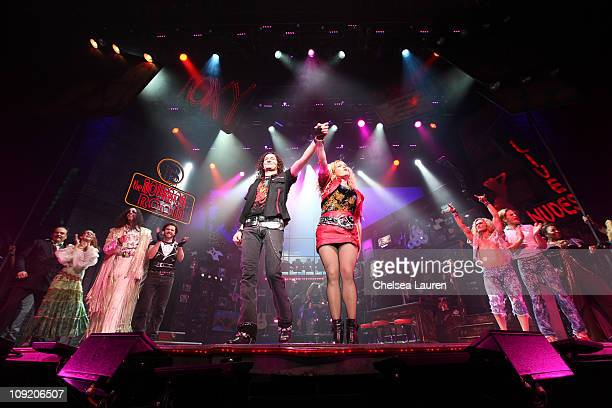Actors / singers Constantine Maroulis and Rebecca Faulkenberry with the national tour of Rock of Ages at the curtain call of Opening Night of Rock of...
