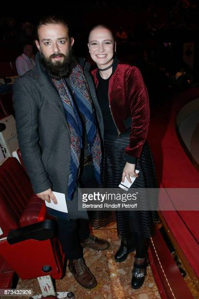 Actors Singers of the musica comedy 'Jesus' Clement Verzi and Anne Sila attend 'Depardieu Chante Barbara' at 'Le Cirque D'Hiver' on November 12 2017...