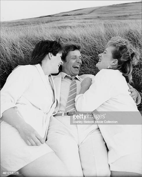 Actors Siobhan Finneran, George Costigan and Michelle Holmes; in a scene from the film 'Rita, Sue and Bob Too!', 1987.