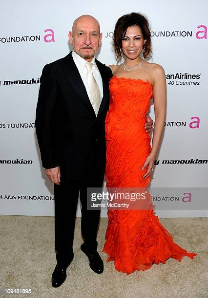 Actors Sir Ben Kingsley and Daniela Lavender attend the 19th Annual Elton John AIDS Foundation Academy Awards Viewing Party at the Pacific Design...