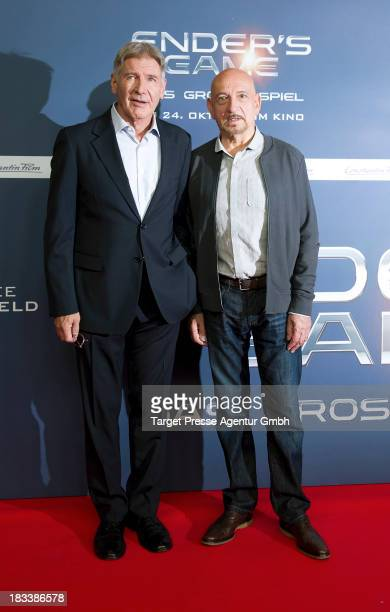 Actors Sir Ben Kingsley and Harrison Ford attend the 'Ender's Game' Photocall at Hotel Adlon on October 6 2013 in Berlin Germany