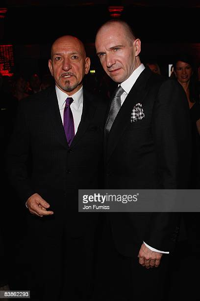 Actors Sir Ben Kingsley and Ralph Fiennes attends the British Independent Film Awards at the Old Billingsgate Market on November 30 2008 in London...