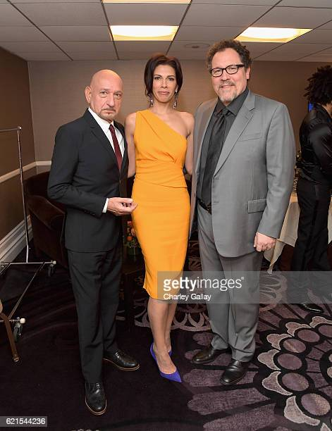 Actors Sir Ben Kingsley Daniela Lavender and director Jon Favreau pose in the green room during the Hollywood Film Awards on November 6 2016 in West...