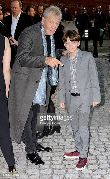 Actors Sir Ian McKellen and Milo Parker attend the UK Premiere of Mr Holmes at the Odeon Kensington on June 10 2015 in London England
