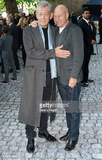 Actors Sir Ian McKellen and Patrick Stewart attend the UK Premiere of Mr Holmes at the Odeon Kensington on June 10 2015 in London England