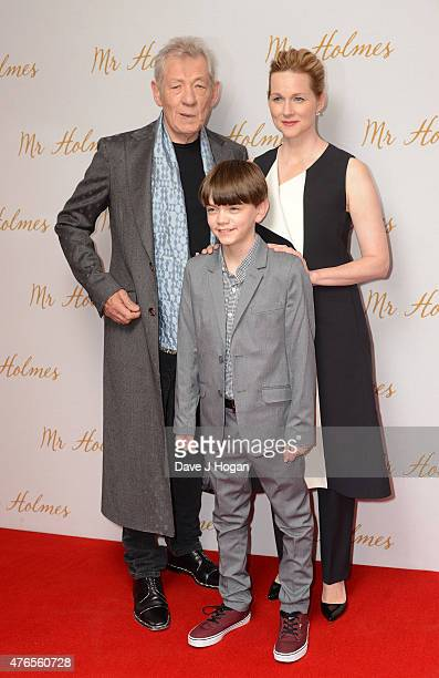 Actors Sir Ian McKellen Laura Linney and Milo Parker attend the UK Premiere of Mr Holmes at the Odeon Kensington on June 10 2015 in London England