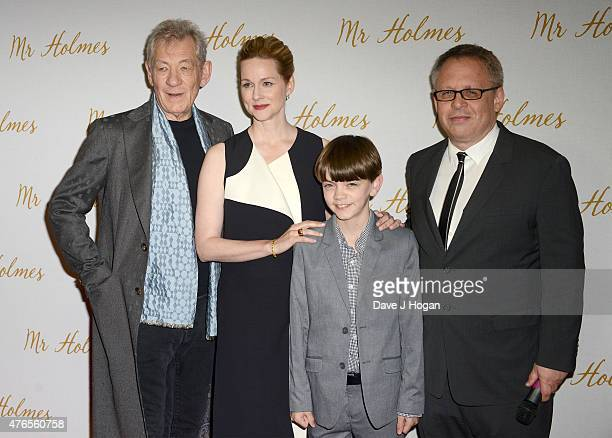 Actors Sir Ian McKellen Laura Linney Milo Parker and director Bill Condon attend the UK Premiere of Mr Holmes at the Odeon Kensington on June 10 2015...