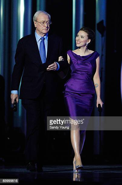 Actors Sir Michael Caine and Scarlett Johansson hosts The Nobel Peace Prize Concert 2008 at the Oslo Spektrum on December 11, 2008 in Oslo, Norway.