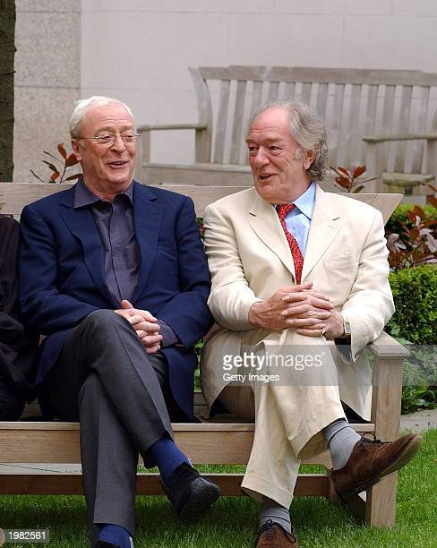 Actors Sir Michael Caine and Sir Michael Gambon attend a press conference for their movie The Actors at the Four Seasons Hotel on May 8 2003 in...