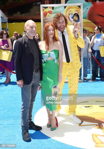 Actors Sir Patrick Stewart Kate Gorney and TJ Miller arrive at the Premiere Of Columbia Pictures And Sony Pictures Animation's 'The Emoji Movie' at...